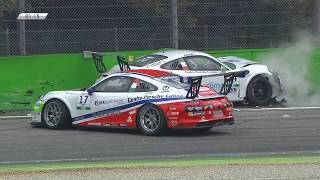 Porsche Carrera Cup Italia 2017. Race 1 Autodromo Nazionale Monza. Leader Crash | Last Laps