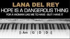 Lana Del Rey - Hope Is A Dangerous Thing... Karaoke Chords Acoustic Piano Cover Instrumental Lyrics