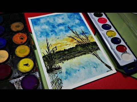 Watercolor landscape painting [Step by step] | Paisaje simple con acuarelas 🎨🖌️