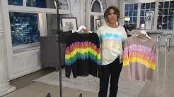 Peace Love World Rainbow Tie Dye French Terry Sweatshirt on QVC