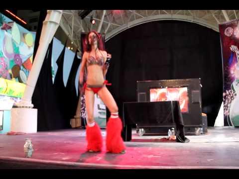 GoGo dancer Erin on the 1st Street Stage, Fremont Street in Las Vegas