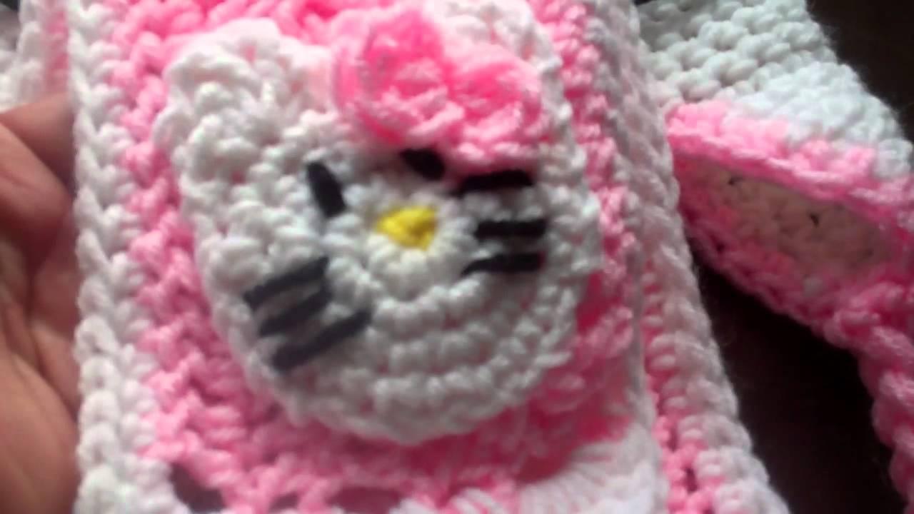 cb94d9f046ce Crochet Hello kitty beanie and Scarf F.O.T.H. - YouTube