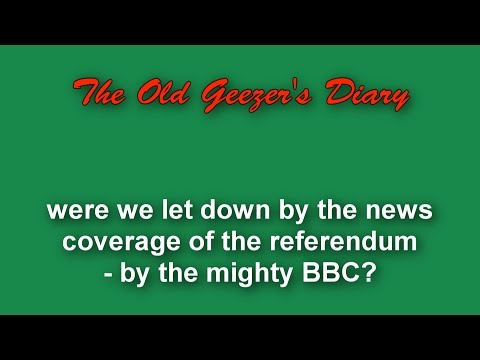 Referendum Blog 2 - let down by the mighty BBC?