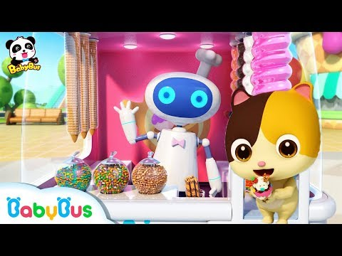 Cool Robot Vending Machine | Baby Kitten Loves Ice Cream | Kids Pretend Play | BabyBus Song