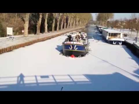 Barge Breaking Ice on the Burgundy Canal, France