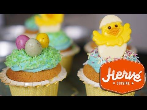 cupcakes-de-pâques-glaçage-au-sucre-facile-//-hervé-cuisine