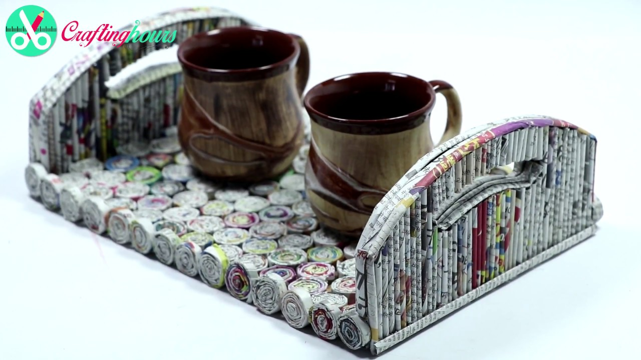 Best out of waste ideas how to make serving tray with for Waste to wealth craft ideas
