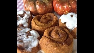 5 Minute Mini Pumpkin Cinnamon Rolls With Maple Cinnamon Glaze