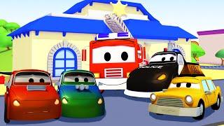 La Super Patrulla: camión de bomberos y patrulla de policía, y los Coches Vándalos en Auto City