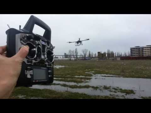 Quadcopter drone flying in 60 Km/h wind gusts- by FAE