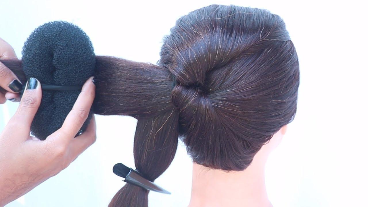 new bun hairstyle for saree, gown, lehenga | new hairstyle | hair style girl | easy hairstyle ...