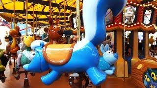 Jessie's Critter Carousel full ride and queue tour at Disney California Adventure