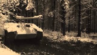 panther tank replica in the wood winter  2014 Bastogne
