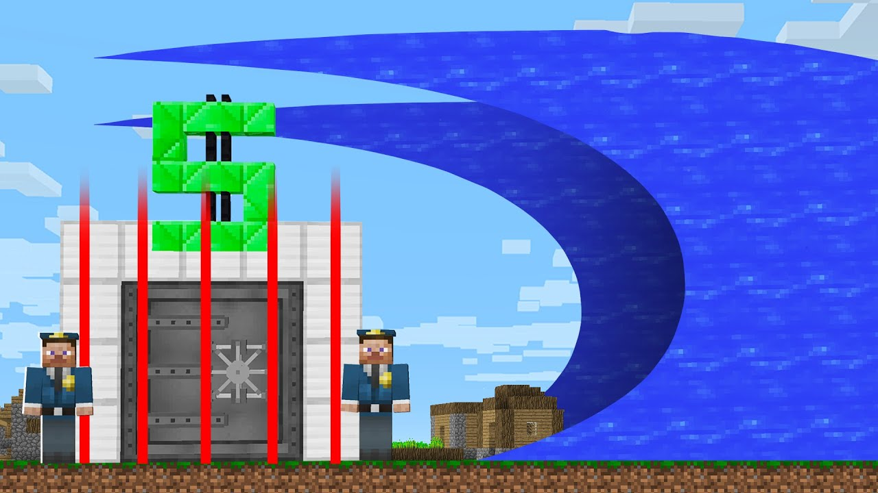 HOW to ROBBERY  a BANK WITH a TSUNAMI? in Minecraft Noob vs Pro