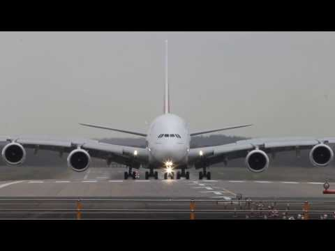 Emirates Airbus A380 Landing at Dusseldorf || Aviation Movies