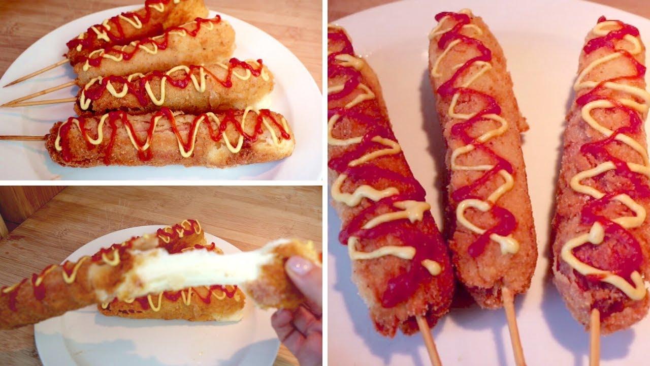 Ricetta MOZZARELLA CORN DOG, Delizioso cibo da strada   #312