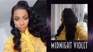 DYING MY 'RAW INDIAN' HAIR MIDNIGHT VIOLET WITH VINTAGE WAVES! TUTORIAL ft. HJWEAVEBEAUTYHAIR.COM