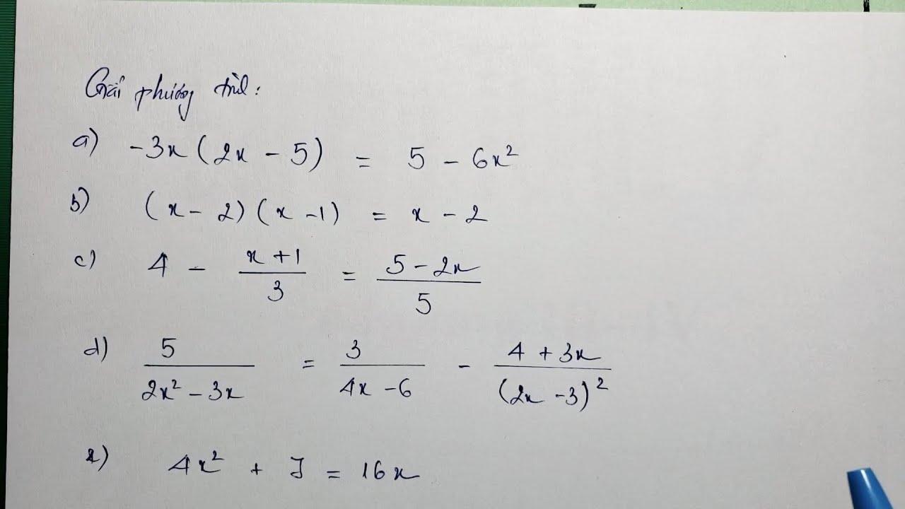 [Lớp 8] Giải phương trình (chương 3 đại số 8)