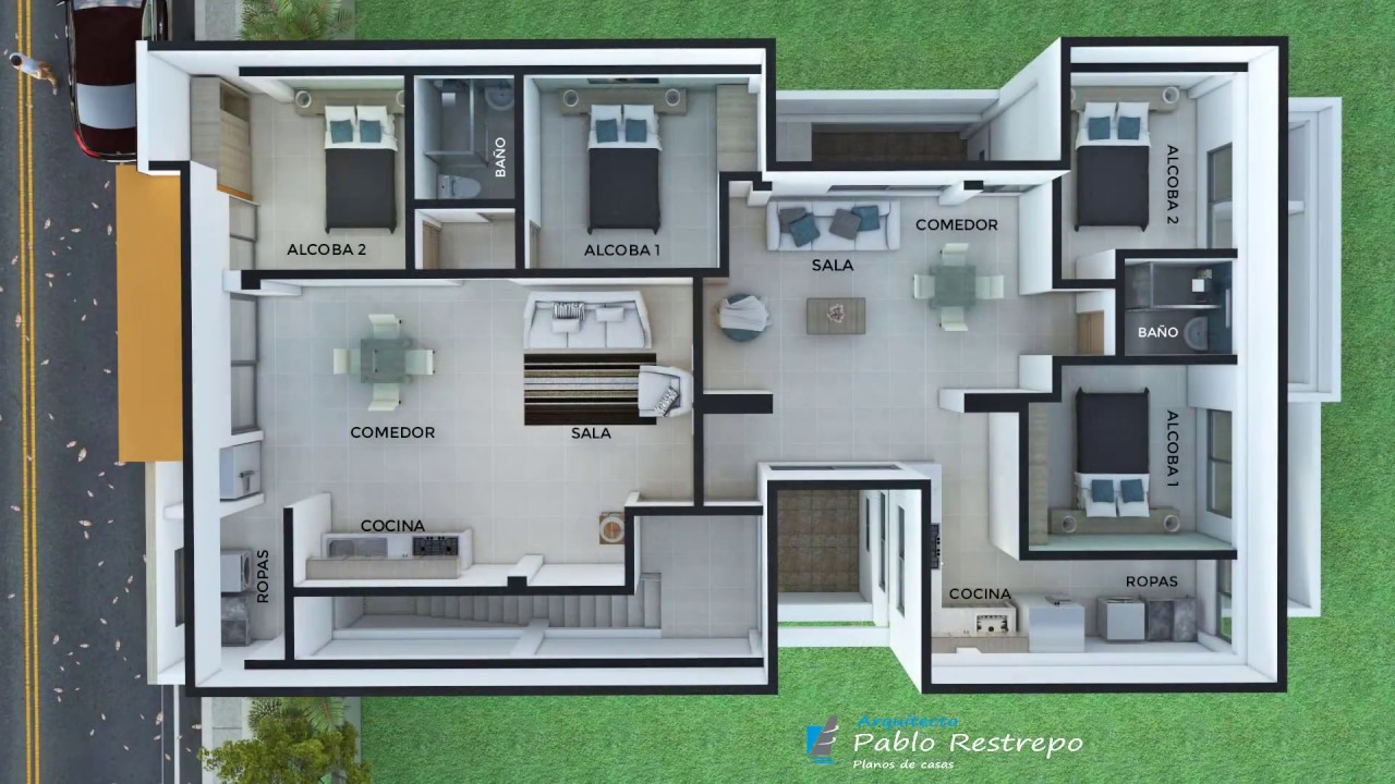 Dise o moderno edificio de apartamentos en tres pisos for Diseno de un apartamento moderno