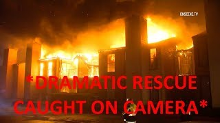 HOUSTON, TX: Third Alarm Apartment Fire *DRAMATIC RESCUE CAUGHT ON CAMERA*