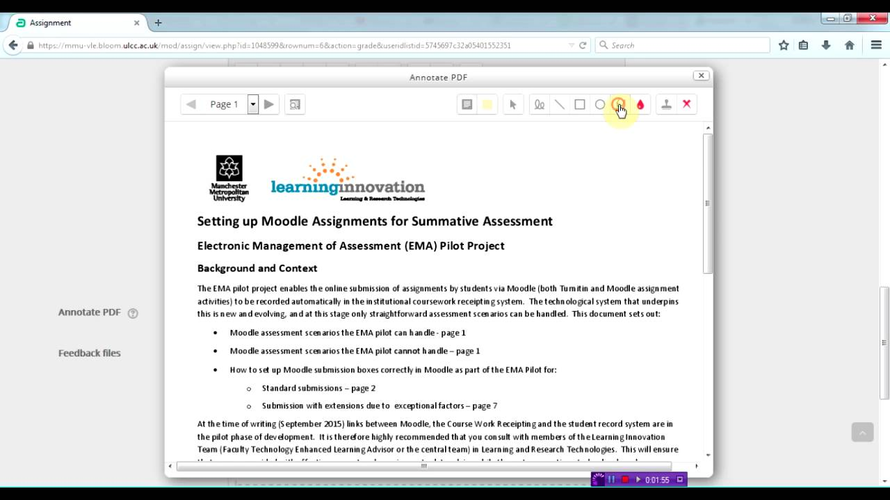 #191 Moodle Assignment: Annotating PDFs for feedback