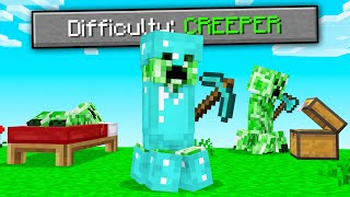 BEATING Minecraft On CREEPER Difficulty! (hard mode)