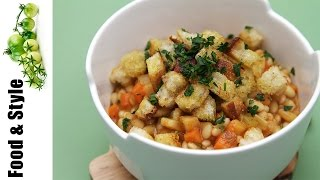 Vegetable Cassoulet With Olive Oil Croutons - Made With Flageolet Beans & Mirepoix