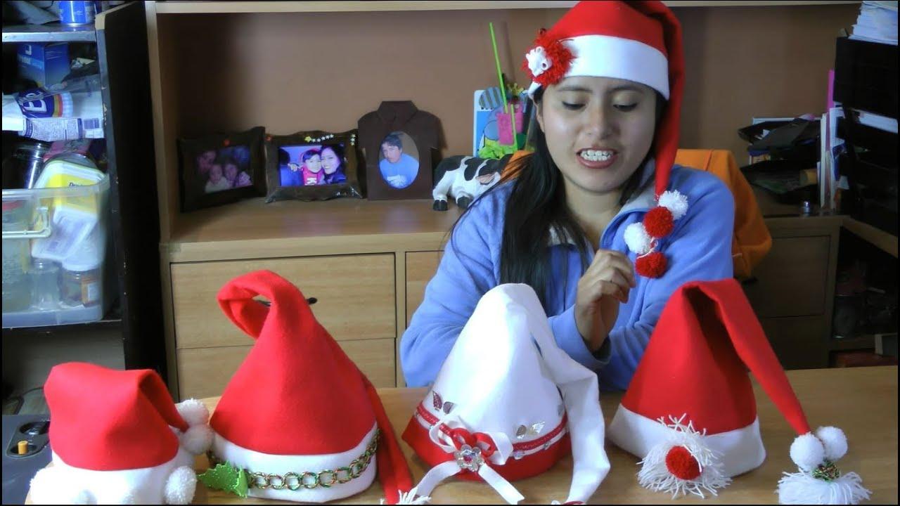 Como hacer Gorros Navideños fácil y rapído  Gorro de Papa Noel o Santa Claus , YouTube
