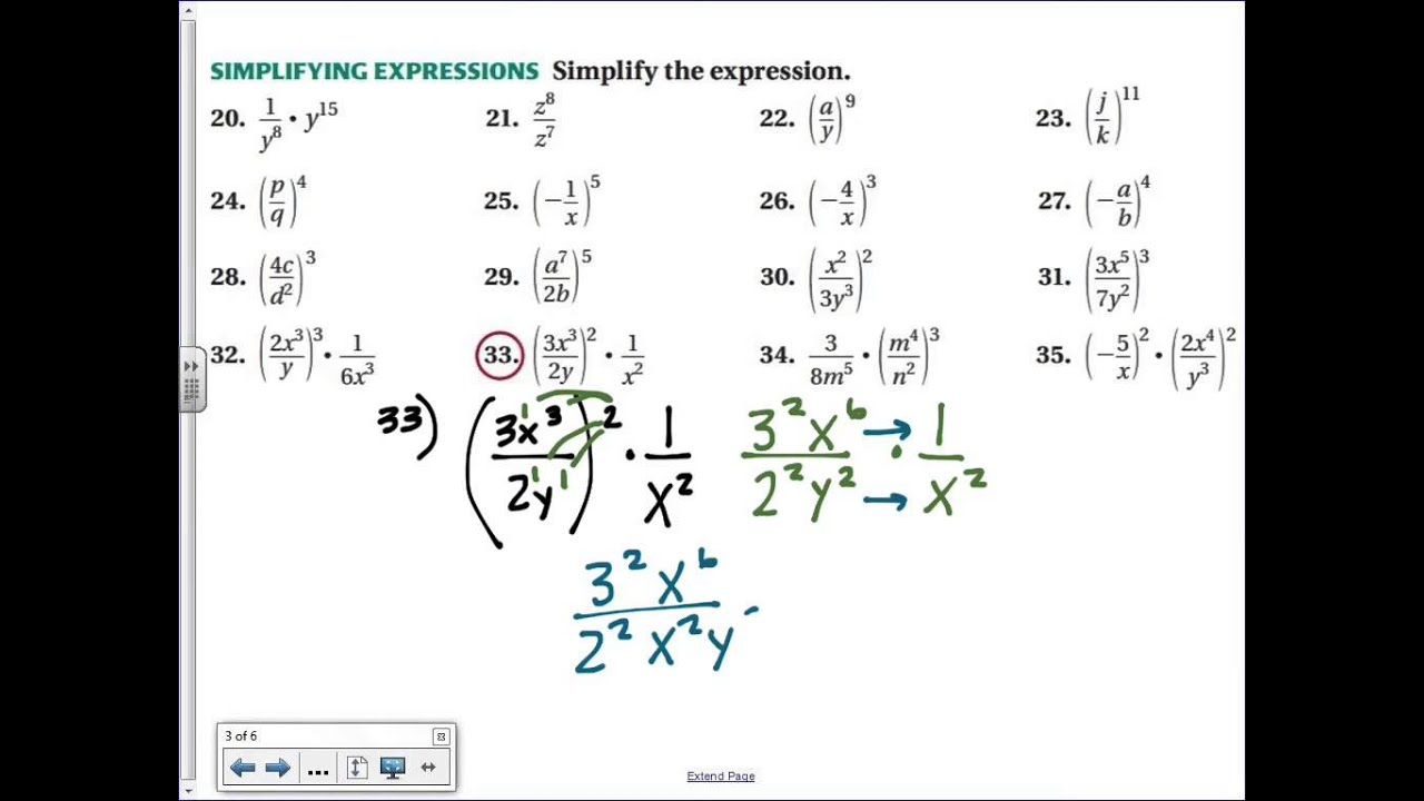 Common Core Math Properties Of Exponents Example Youtube
