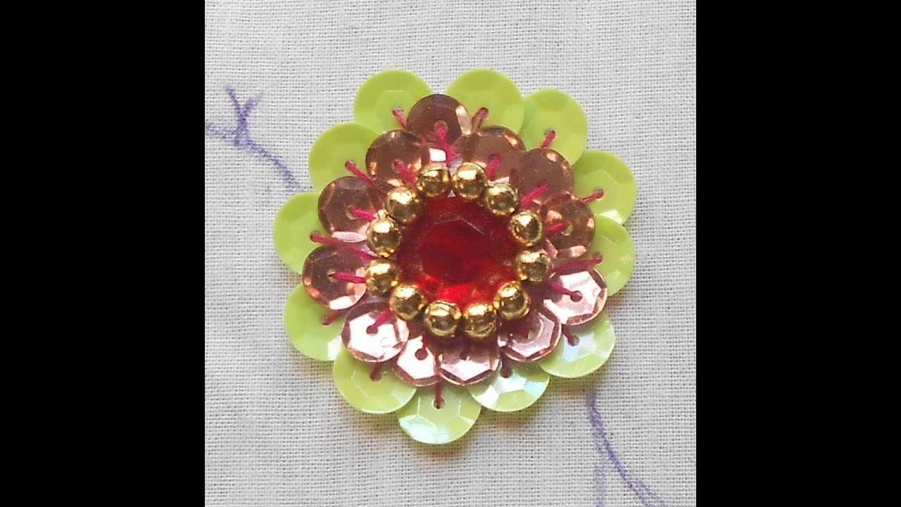 Hand Embroidery: How To Do A Big Beautiful Rosette Sequin Flower Using  Kundan Stone & Beads  Youtube