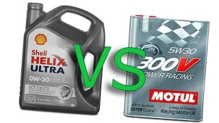 Shell Helix Ultra 0W30 vs Motul 300V power racing 5W30, Cold oil test -24°C