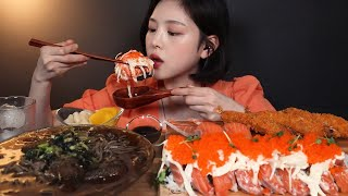 SUB)살얼음 동동 냉모밀에 연어롤 연어초밥 먹방 ! …