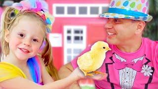Stacy und Papa jagen Ostereier und sammeln Überraschungen und Spielzeug