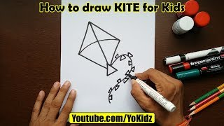 How to draw KITE for kids