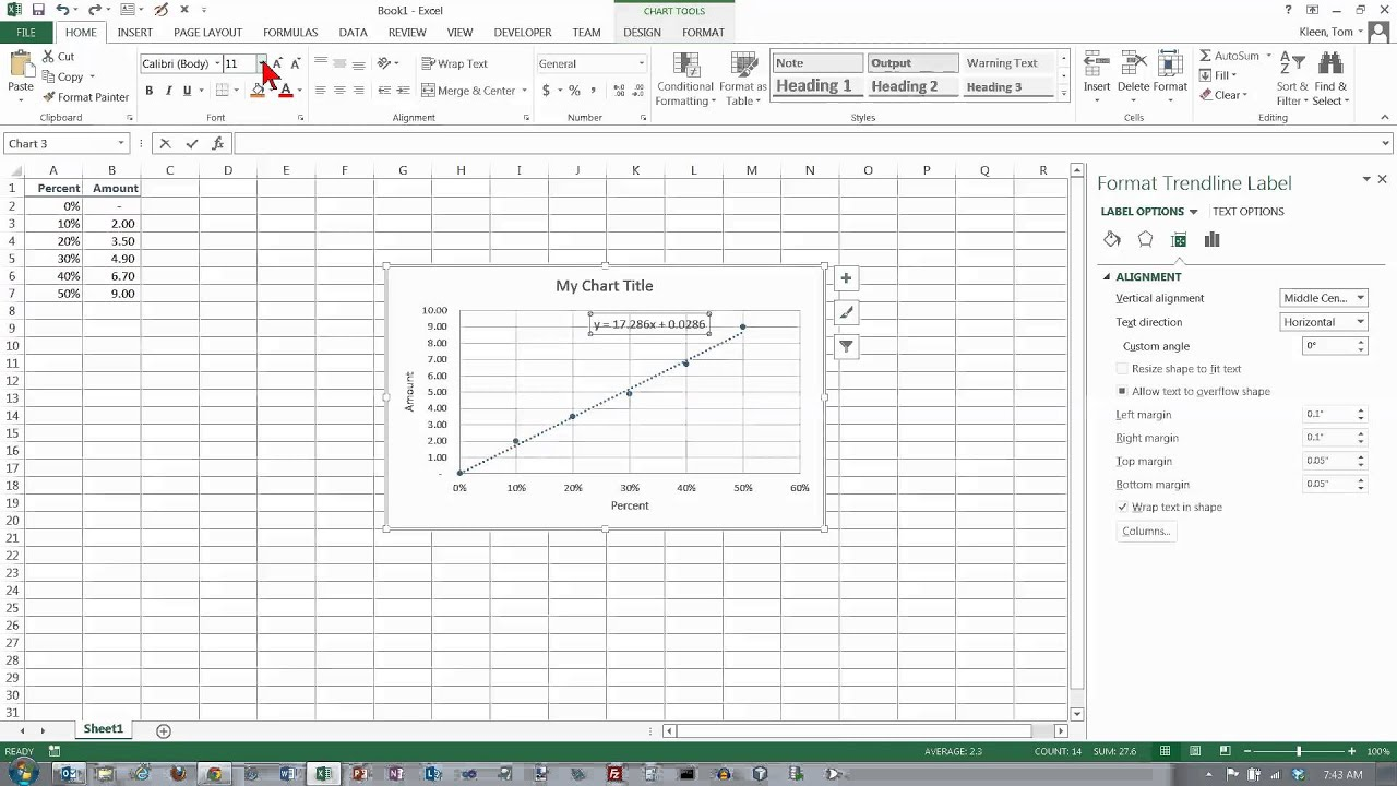 Excel 2013: Scatter Chart with a Trendline - YouTube