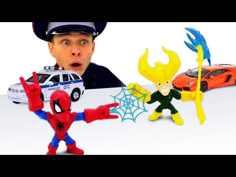 Супергерои и игры гонки. Человек Паук и Фёдор ловят нарушителей! Видео с машинками полиции.