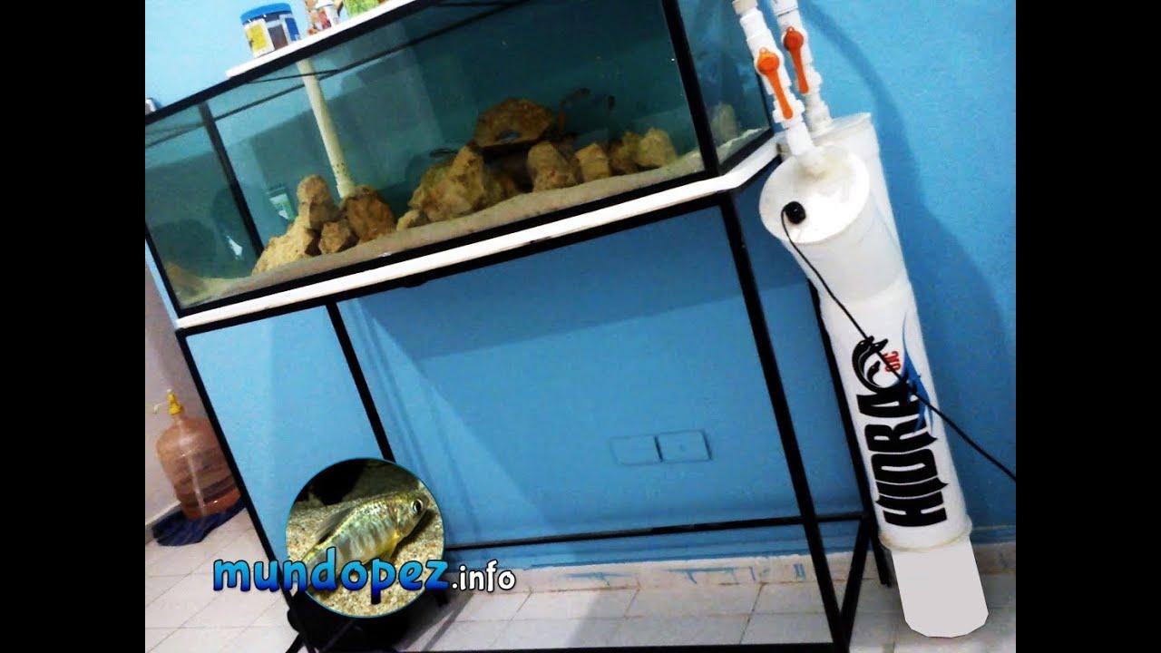 Gu a para ensamblar el filtro casero hidra6jc youtube for Filtros para estanques de peces caseros