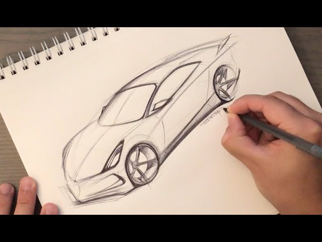 How to Sketch a Car in Perspective Using Just a Pen (Start with an egg)
