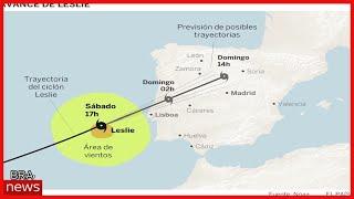 Furacão Leslie toca terra em Portugal com ventos de até 190 quilômetros por hora