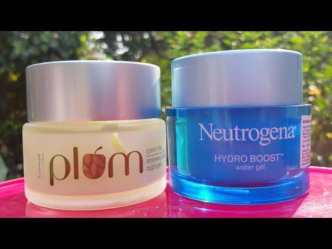 Neutrogena HYDRO BOOST water gel vs plum green tea renewed night gel review | best cream for winters