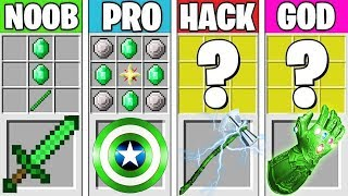 Minecraft Battle: EMERALD AVENGERS CRAFTING! NOOB vs PRO vs HACKER vs GOD in Minecraft Animation