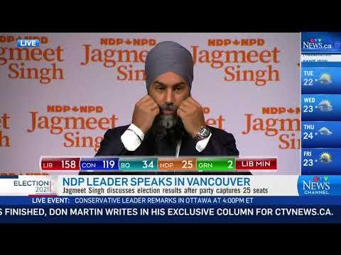 NDP Leader Jagmeet Singh speaks after Liberal win