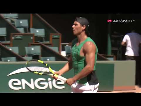 Rafael Nadal's 1st practice at Roland Garros 2017
