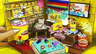 Miniature PLAY DOH SHOP | DOLLHOUSE | Sandpit, Pool, TV, Window
