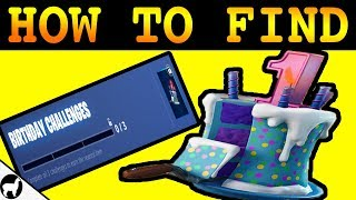 Fortnite Birthday Cake Locations | Dance in Front of Different Birthday Cakes Challenge