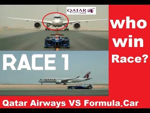 Who Win This Race - Qatar Airways B787  Or Formula E car Racing Car