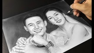 Beautiful Couple Drawing With Pencil and Charcoal - DP Truong