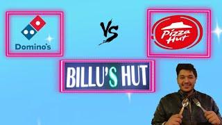 BLIND FOLD CHALLENGE DOMINO#39S VS PIZZA HUT VS BILLU#39S HUT LOCAL HUB VS MNC FOOD COMPARISON