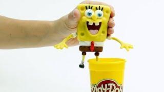 Spongebob clay cartoon 💕 Superhero Play Doh Stop motion videos