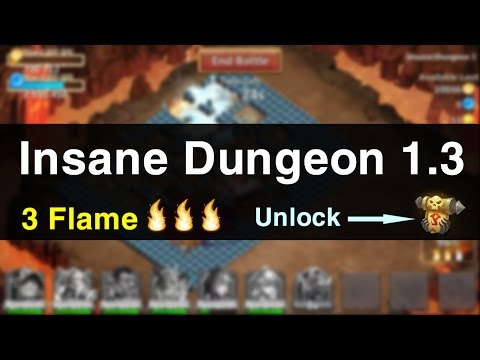 Castle Clash Insane Dungeon 1-3 With 3 Flame - Unlock Blitz Scroll (F2P Hero Only)